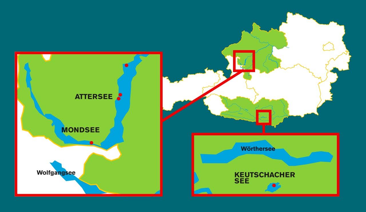 Lageplan der Welterbestationen in Oberösterreich, Mondsee und Attersee und in Kärnten im Keutschacher See.