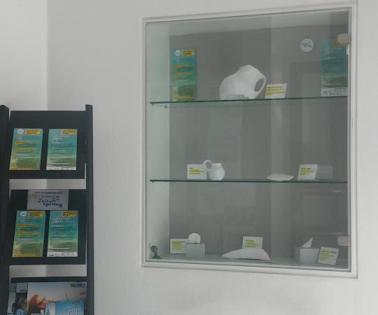 Präsentation der 3D-Objekte in der Raiffeisenbank Weyregg. (Bild: C. Löw - Kuratorium Pfahlbauten)