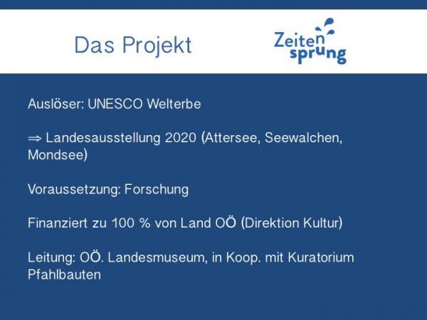 Vortragsfolie zur Entstehungsgeschichte des Projektes Zeitensprung. (Grafik: H. Seidl da Fonseca - Kuratorium Pfahlbauten)