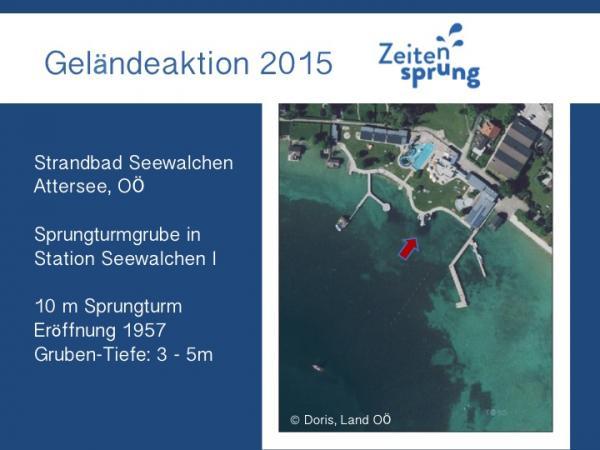 Vortragsfolie zur Lage der UW-Grabung und der Situation an der Fundstelle Seewalchen I. (Grafik: H. Seidl da Fonseca - Kuratorium Pfahlbauten)