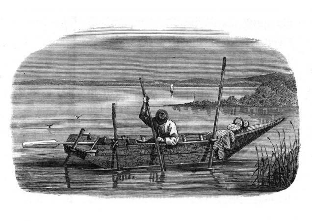 Im 19. Jhd. wurde vor allem vom Boot aus gearbeitet. Fischer, wie Hänsli Kopp vom Bielersee/CH, waren maßgeblich an den Untersuchungen beteiligt. (Bild: Laténium, Archäologiepark und –Museum, Neuenburg CH)