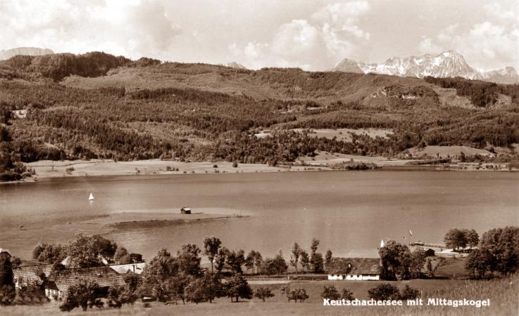 Der Keutschacher See mit Mittagskogel auf einer alte Ansichtskarte. (Bild: aus dem Bestand der Gemeinde Keutschach)