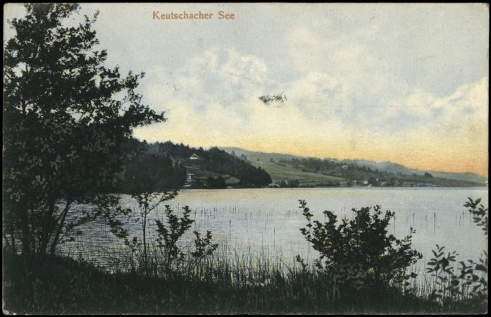 Der Keutschacher See auf einer Ansichtskarte von 1905 in der Österreichische Nationalbibliothek ( Verlag Leon Sen.;  Bild: http://data.onb.ac.at/AKON/AK066_49)