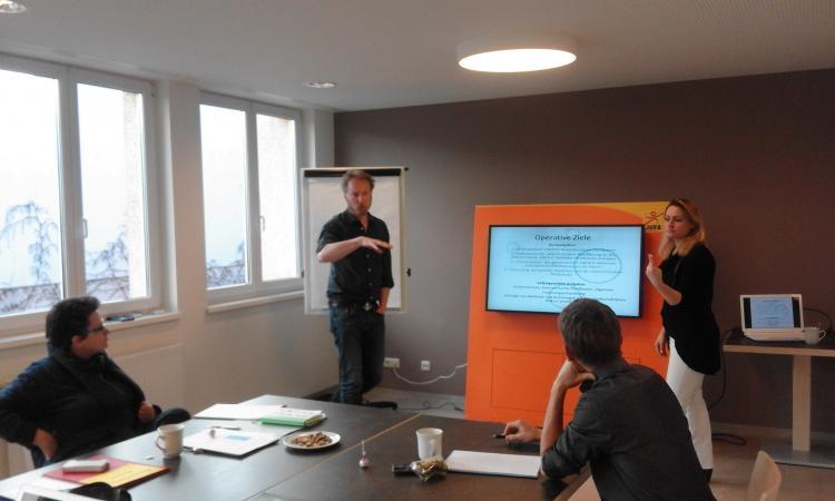 Der Schwerpunkt beim Team-Meeting in Graz lag auf der Kommunikation. (Bild: Helena Seidl da Fonseca - Kuratorium Pfahlbauten)