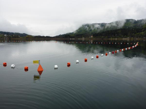 Durch die Markierung der Schutzzone wird das UNESCO-Welterbe im Keutschacher See erstmals auch von Land aus sichtbar. (Bild: Kuratorium Pfahlbauten)