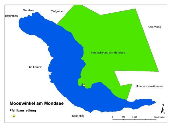 Die Pfahlbausiedlung der Gemeinde Innerschwand am Mondsee.