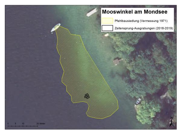 Grabungsareale in der Station Mooswinkel im Projekt Zeitensprung, 2018 und 2019.