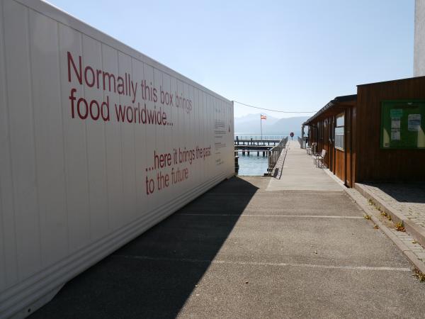 Der Container steht nahe dem Grabungsgelände und wird auch von uns als Informationsfläche genutzt. (Bild: H. Pohl - Kuratorium Pfahlbauten)