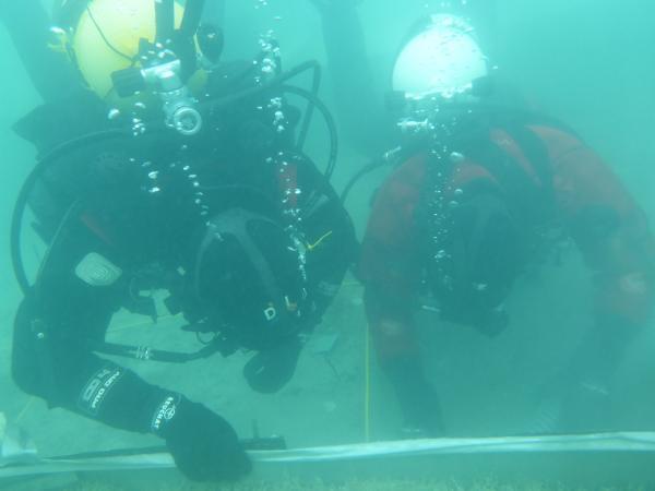 Henrik und Gerd im Einsatz unter Wasser. (Bild: Kuratorium Pfahlbauten - Boris Kiefer)