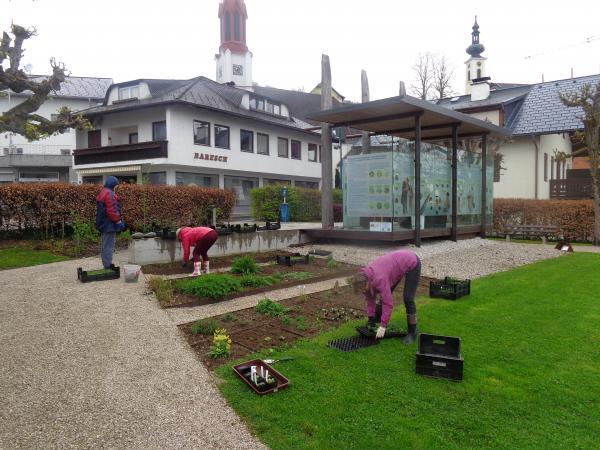 Das fleißige Team des Vereins Pfahlbau am Attersee bei der Arbeit im Steinzeit-Garten in Attersee. (Bild: Helga Oeser)