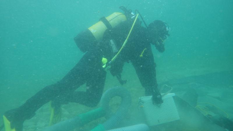 Esther Unterweger bei der Arbeit unter Wasser. (Bild: Kuratorium Pfahlbauten)