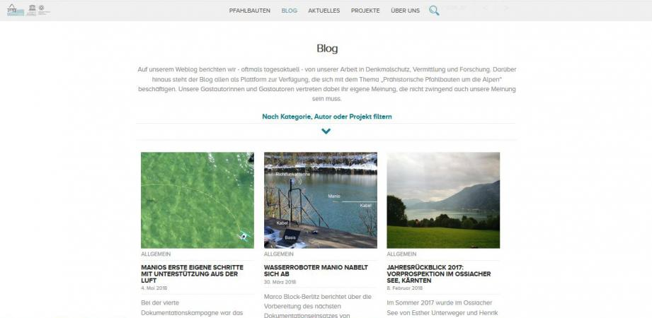 Screenshot Pfahlbauten-Blog 2017 (Bild: Kuratorium Pfahlbauten)