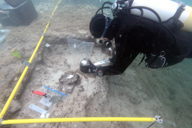 Beprobung der Holzpfähle unter Wasser. (Bild: H. Pohl - Kuratorium Pfahlbauten)