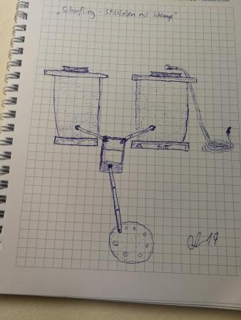 Skizze zur Fundreinigungsvorrichtung, die das Team meist als Schlämmanlage bezeichnet. (Bild: Florian Ostrowski  - OÖLM - Kuratorium Pfahlbauten)