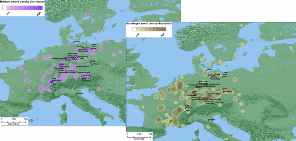 On the left the distribution of Late Bronze Age Morigen swords, and on the right the distribution of Early Iron Age Gundlingen type swords. (Bild: Ben Jennings)