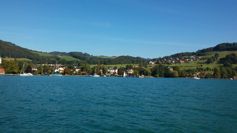 Wunderschöne Aussicht auf Weyregg vom Forschungsboot aus. (Bild: Kuratorium Pfahlbauten)