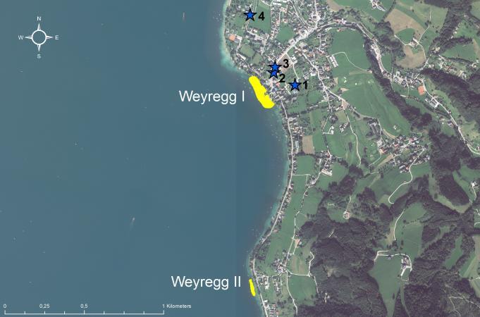 Lage der Siedlungen von Weyregg. (Bild: Kuratorium Pfahlbauten)