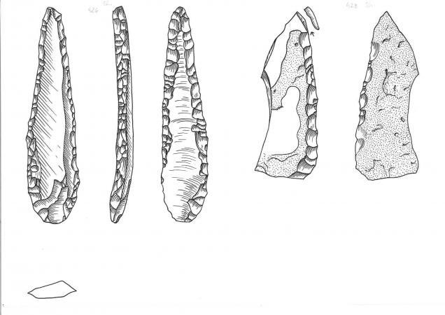 Zeichnungen von Werkzeugfunden aus der Station See im Mondsee. (Zeichnung: W. Antl - NHM Wien)