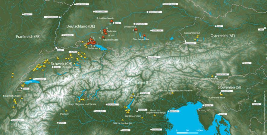 Lageplan der 111 Welterbestationen um die Alpen