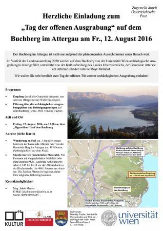 Einladung zum Tag der offenen Grabung am Buchberg in Attersee