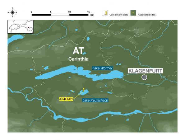 Lageplan der vier Welterbestation in Kärnten, Keutschacher See