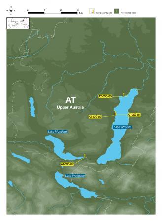 Lageplan der vier Welterbestationen in Oberösterreich, Mondsee und Attersee.